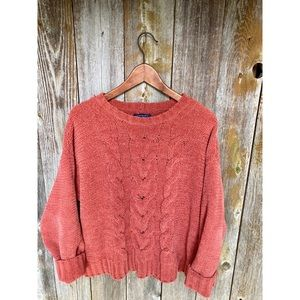 AEO chenille cable chunky crew neck sweater